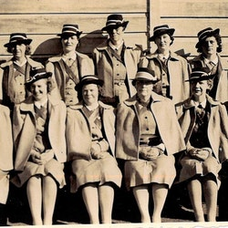 Waihi St John Ambulance nursing division 1946. Ladies during WW2. Photo taken after church parade at St Joseph's Church. Third left front: Grace Armitt. Fifth left front: Mary Warn.
