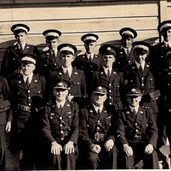 Waihi St John Ambulance men's division. Photo taken after church parade at St Joseph's Church. No date but presume 1946. Third left back: C. Carter Snr.