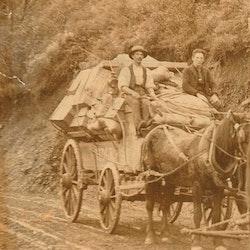 Horse drawn loaded wagon, supplies from Paeroa to Waihi.