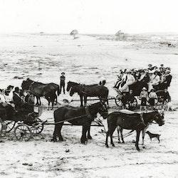 Two horse drawn wagonettes on Waihi Beach.
