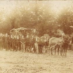 Waitekauri Road. Four horse drawn teams.